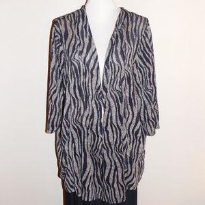 2X Maggie Barnes Brown Black Print Stretch Jacket